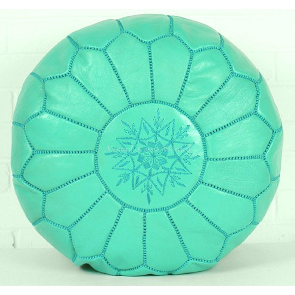 PREMIUM Moroccan Pouf Ottoman Footstool - Genuine Leather - SEAFOAM - Nomad House