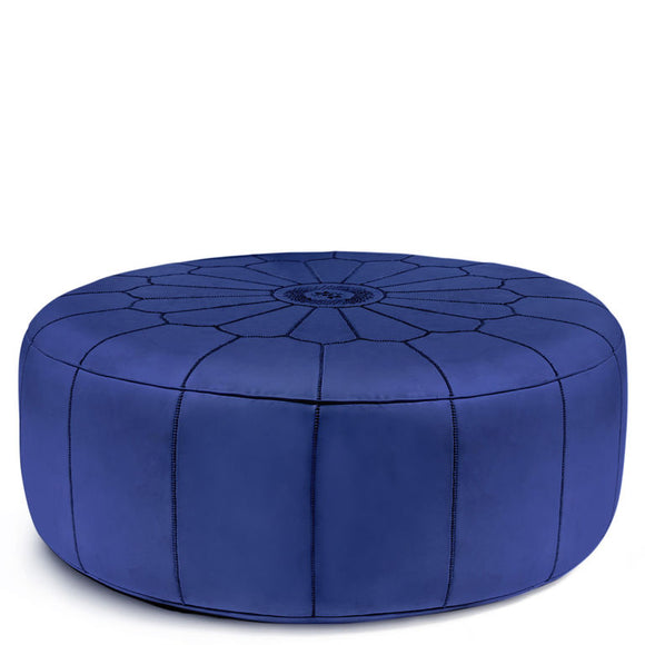 Giant Leather Moroccan Pouf - Blue - Nomad House