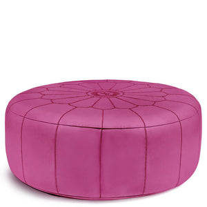 Giant Leather Moroccan Pouf - Fuchsia - Nomad House