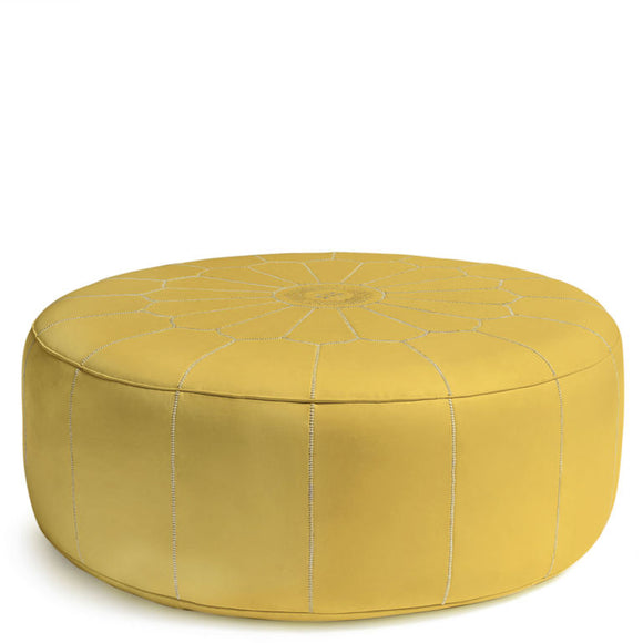 Giant Leather Moroccan Pouf - Mustard - Nomad House