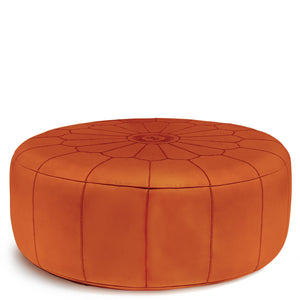 Giant Leather Moroccan Pouf - Orange - Nomad House