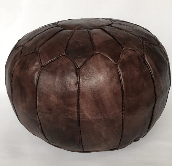 PREMIUM Piped Moroccan Leather Pouf