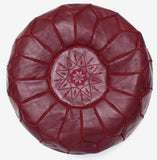 PREMIUM Moroccan Pouf Ottoman Footstool - Genuine Leather - RUBY