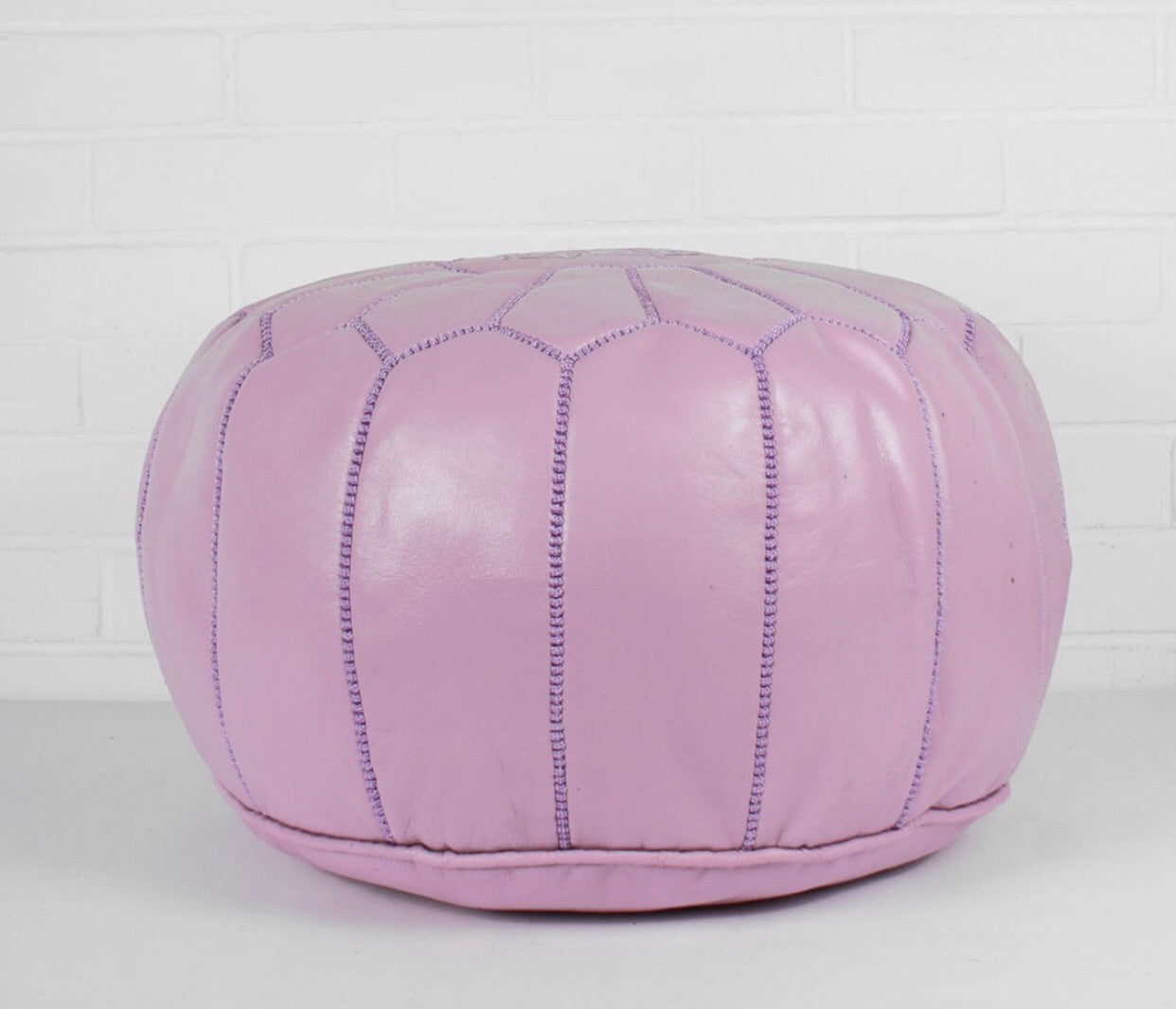 Astounding Premium Moroccan Pouf Ottoman Footstool Genuine Leather Soft Lilac Uwap Interior Chair Design Uwaporg