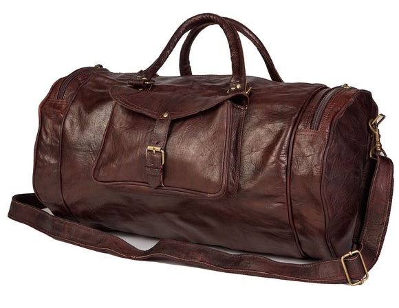 ROUND Moroccan Leather Duffel Bag - Nomad House