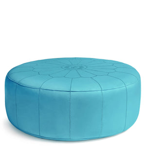 Giant Leather Moroccan Pouf - Turquoise - Nomad House