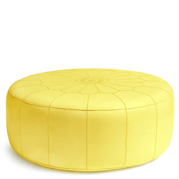 Giant Leather Moroccan Pouf - Yellow - Nomad House