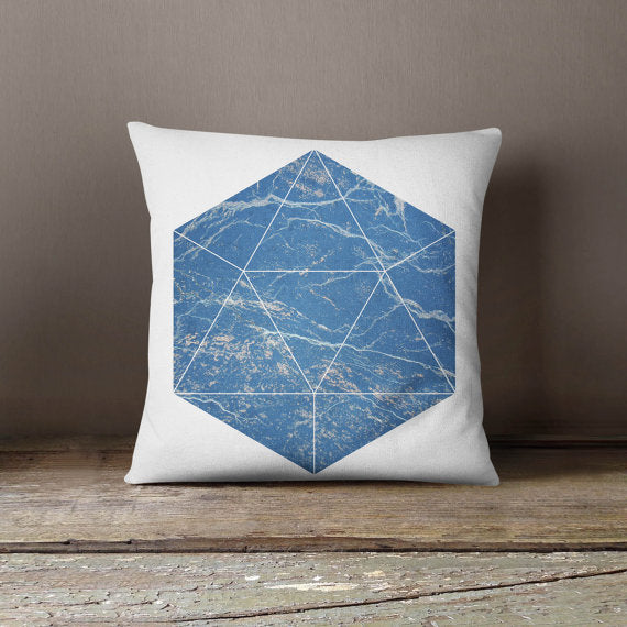 Blue Marble Pillowcase Marble Decorative Throw - Asili Interiors