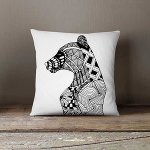 Bear Hand Drawn Art Pillowcase | Decorative Throw - Asili Interiors
