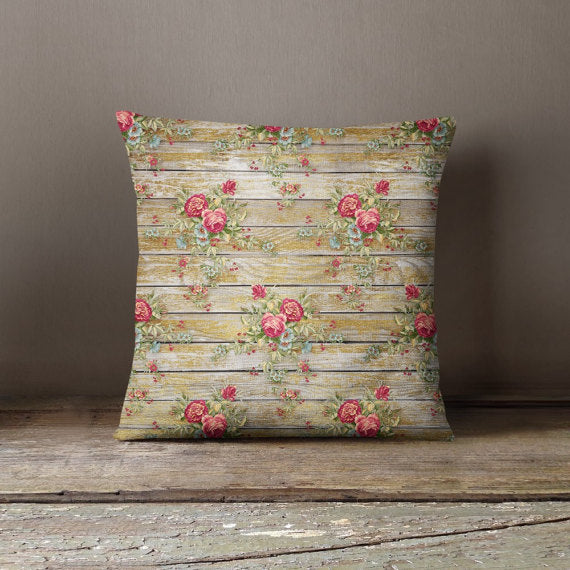 Wood Flowers Decorative Throw Pillow Case Pillow - Asili Interiors