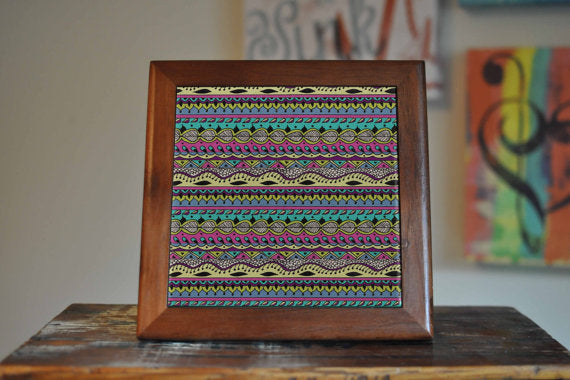 Aztec Pattern Ceramic Tile Coaster Set Artwork - Asili Interiors