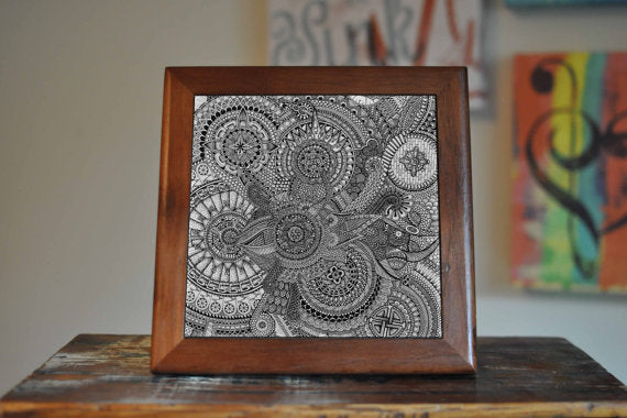 Mandala Pattern Yoga Ceramic Tile Coaster Set - Asili Interiors