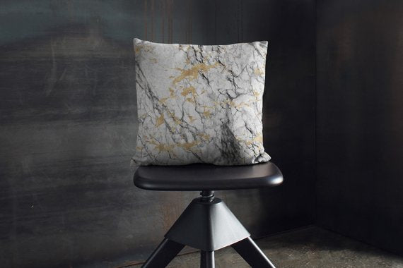 White Marble Pillow Marble Art Gold Marble Pillow - Asili Interiors