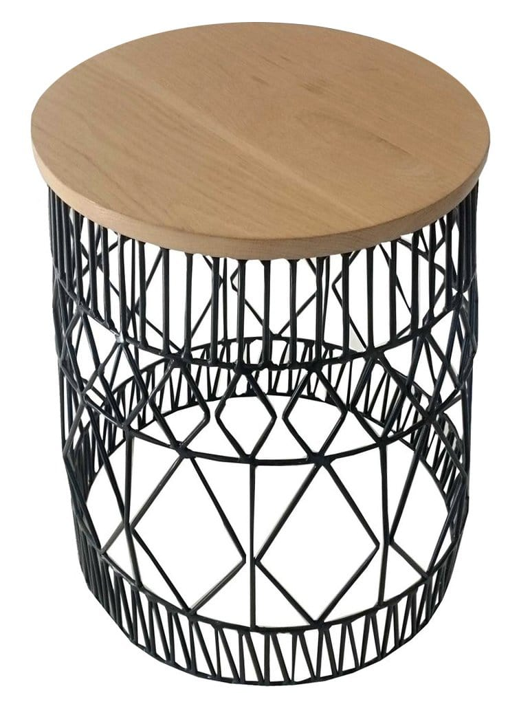 Afro Side Table, Black Epoxy with Oak Top