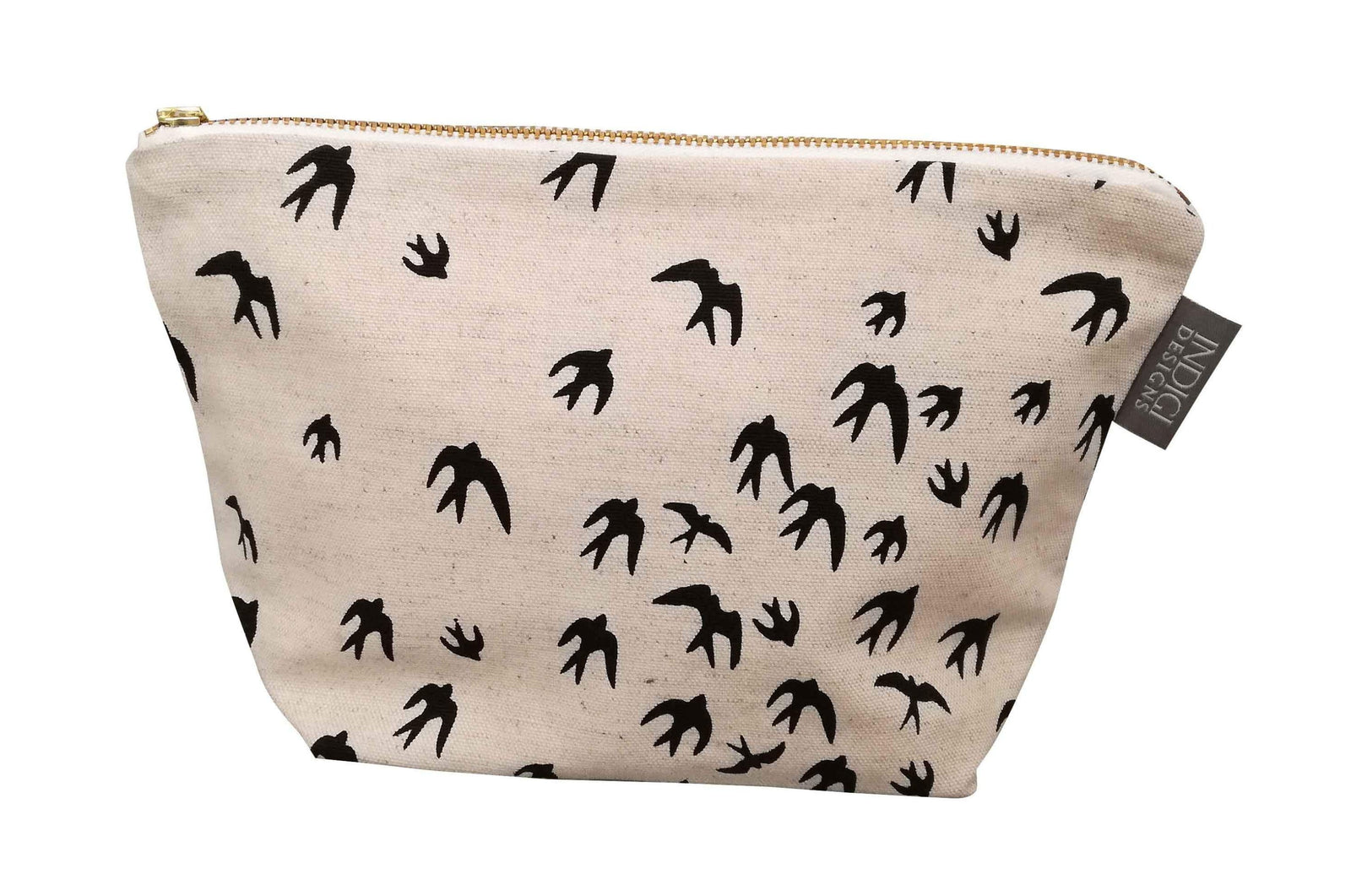 Birds Black Cosmetic Bag Large