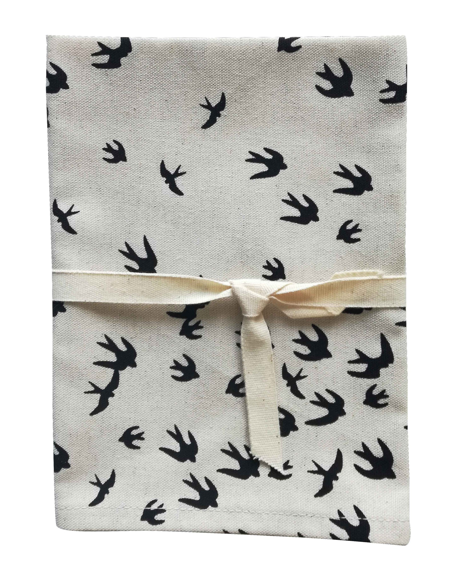 Birds Black Tea Towel