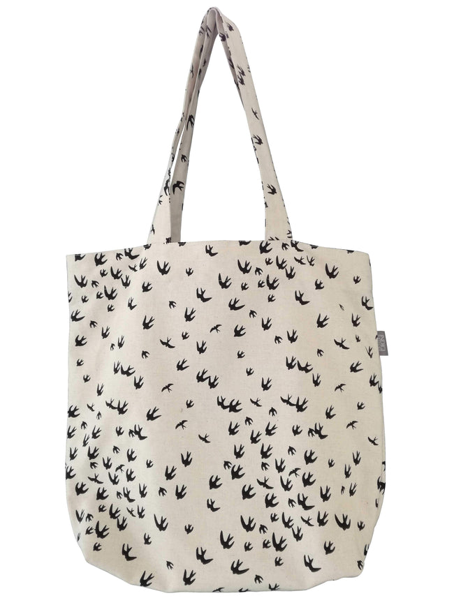 Birds Black Shopper Bag