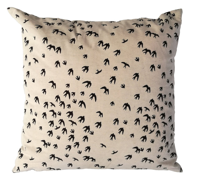Birds Black Cushion Cover
