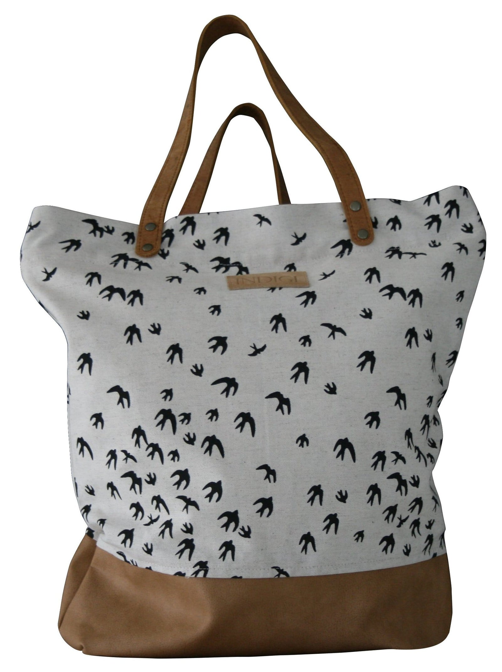 Birds Black Shoulder Bag Leather Base & Handles