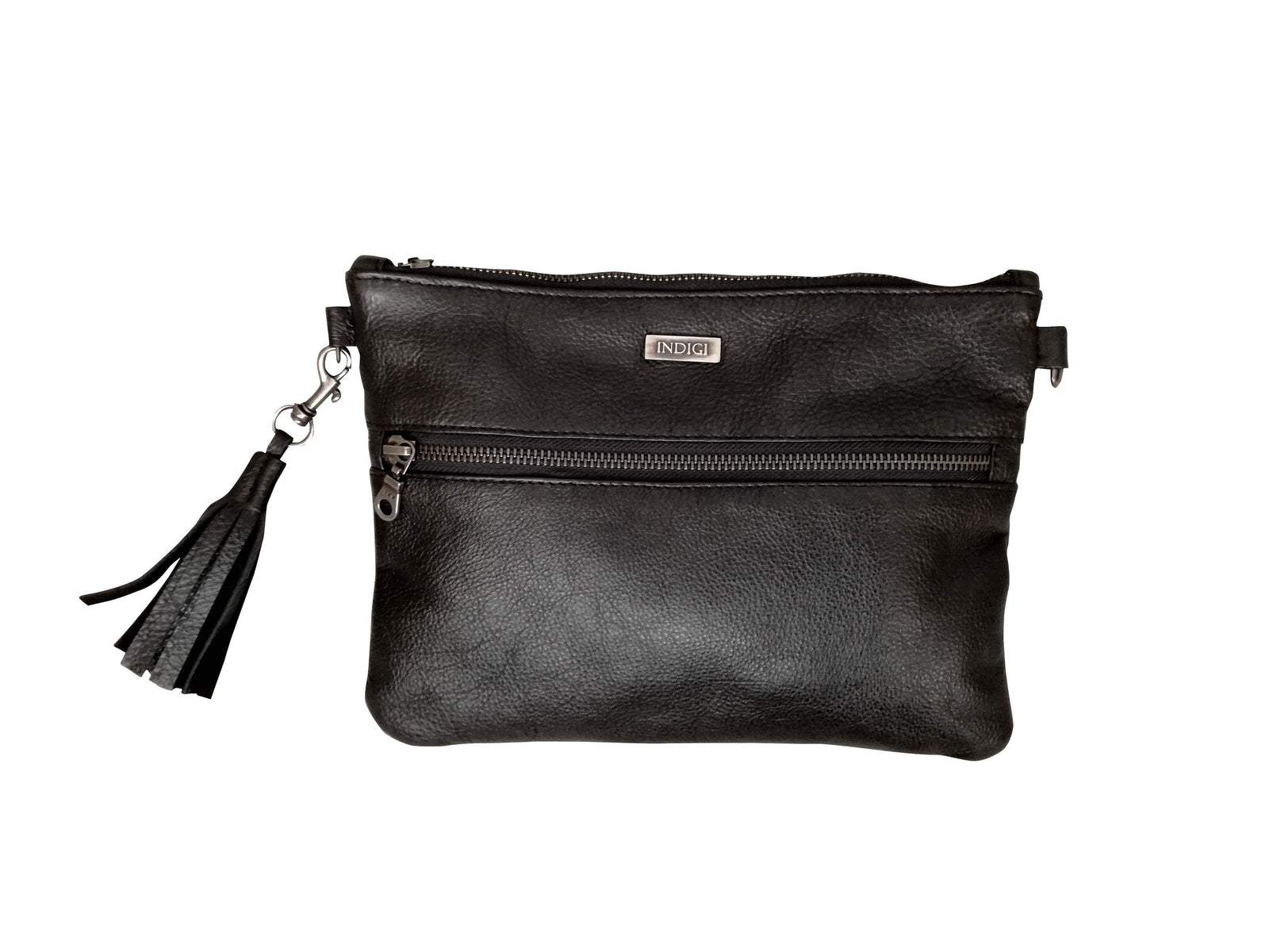 Black Leather Sling & Clutch Bag