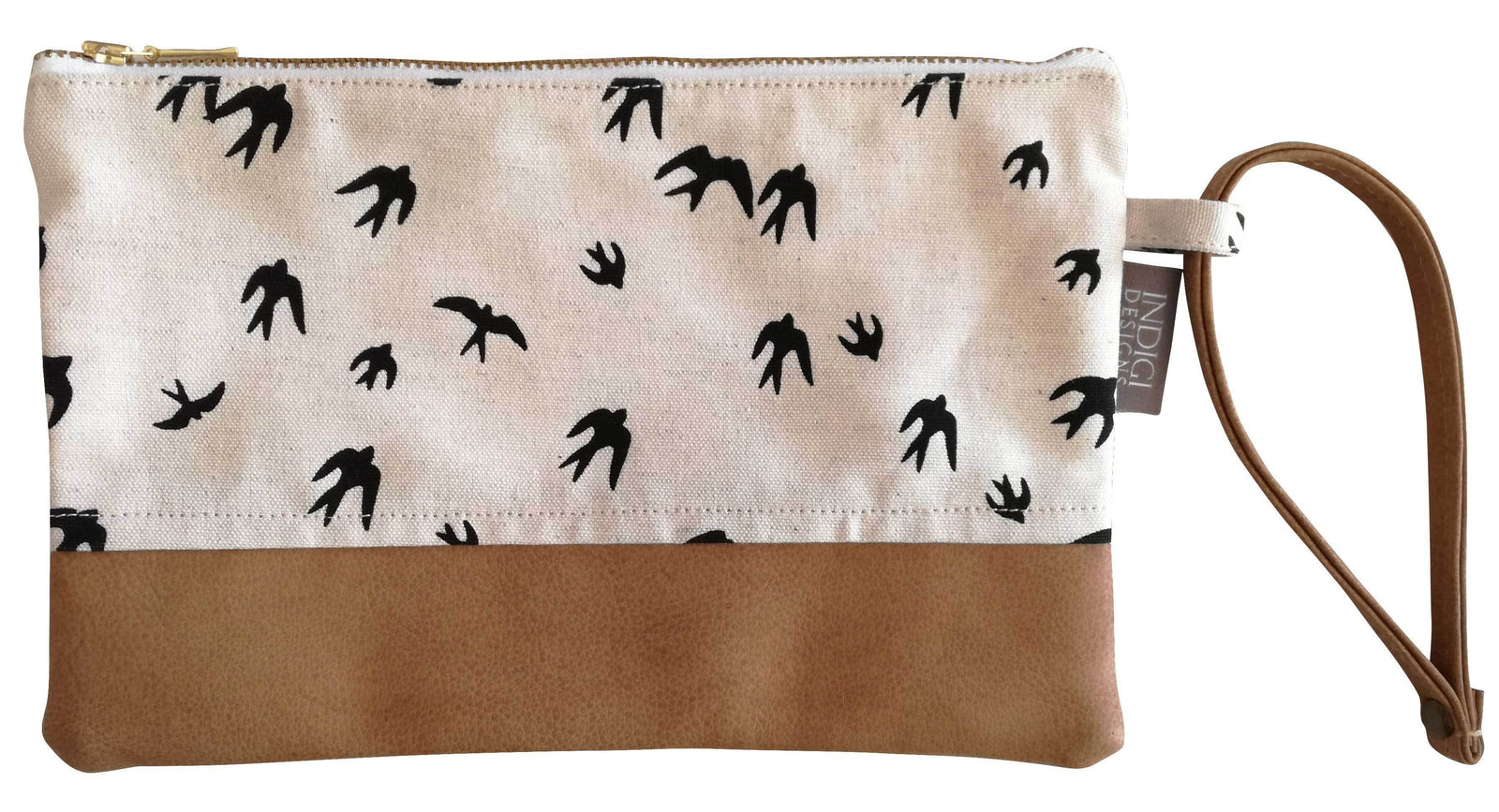 Birds Black with Faux Leather Clutch Bag