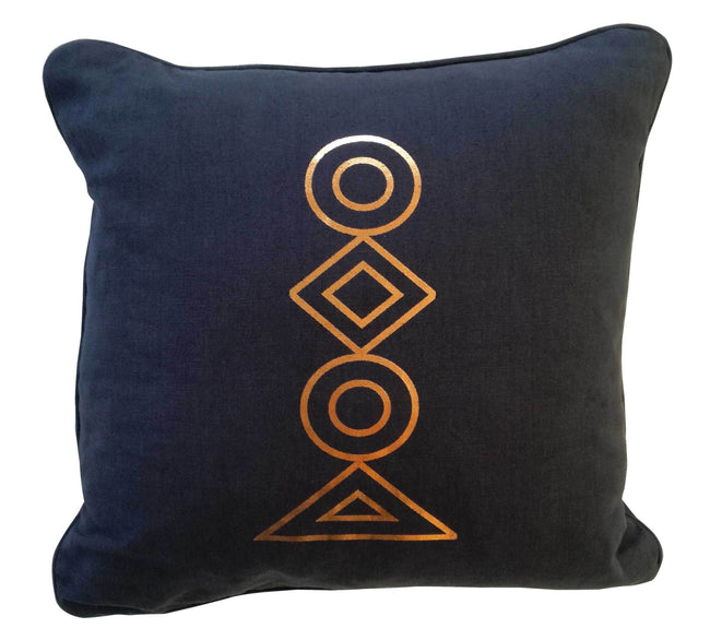 Totem Copper on Charcoal Foiled Cushion Cover