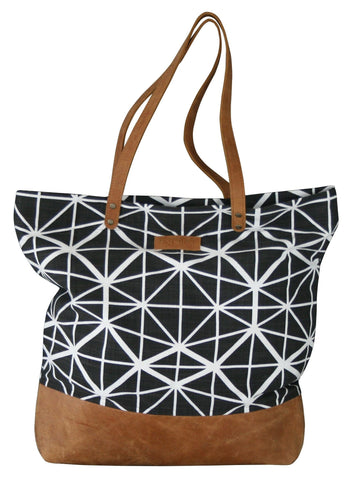 Bemba Blocks Charcoal Shoulder Bag Leather Base & Handles