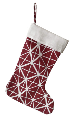 Henna Leaves Deep Red Christmas Stocking