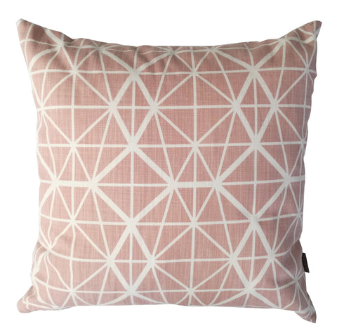 Lotus Silver on Nude Pink Foiled Cushion Cover