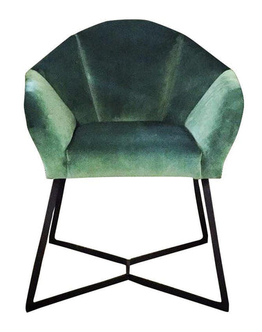 Rex Wingback Armchair, Black Epoxy Legs in Facet Harvest with Black Shwe Shwe Piping