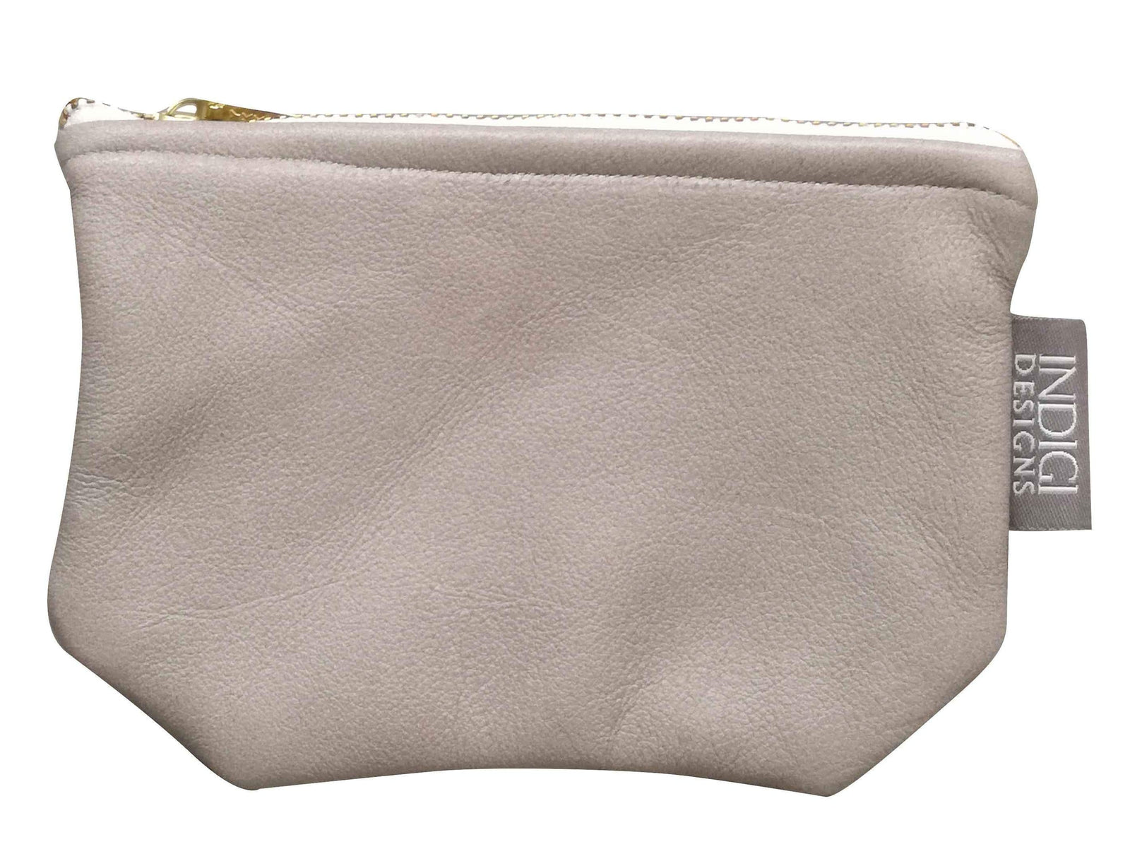 Grey Leather Pouch Small