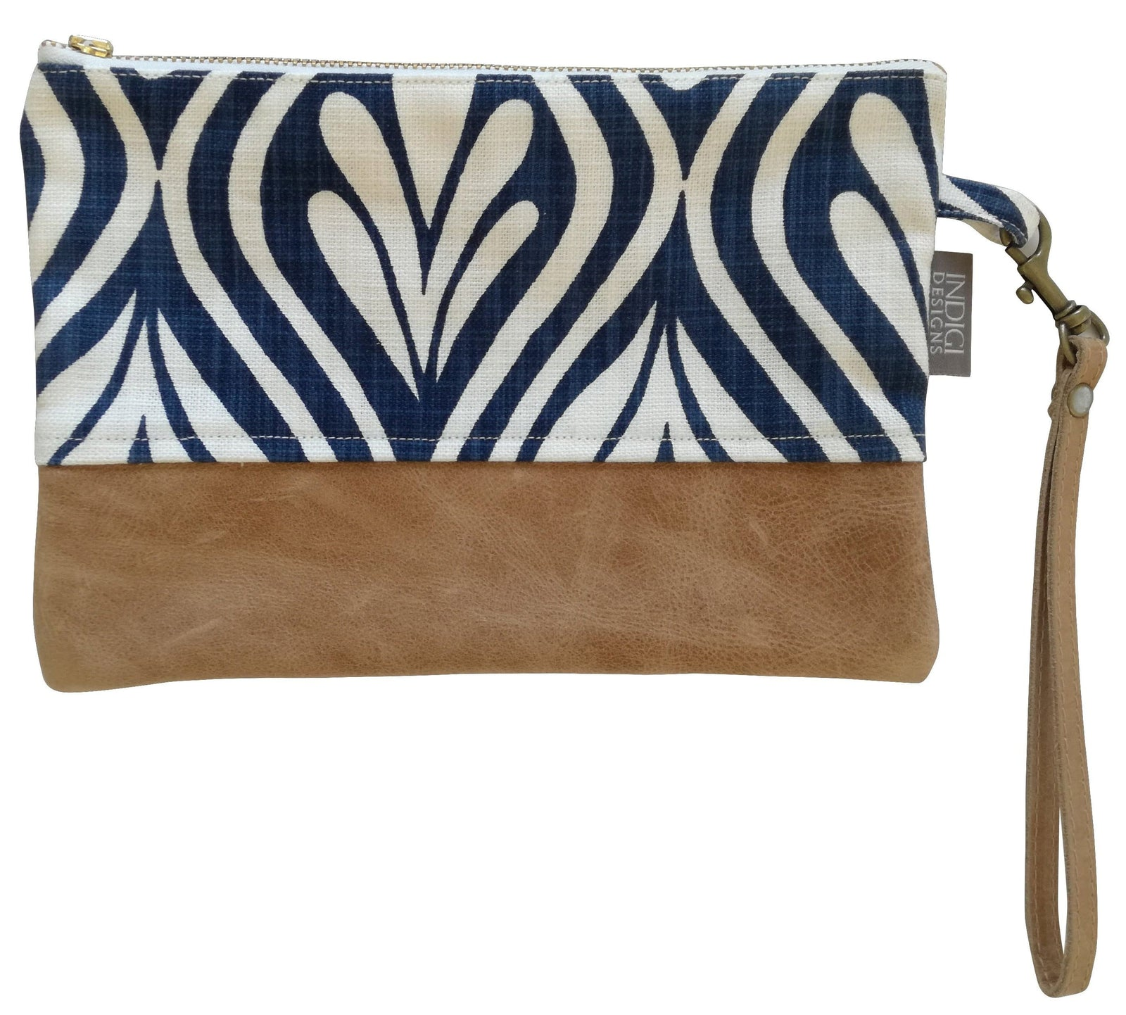 Henna Leaves Indigo with Leather Clutch Bag