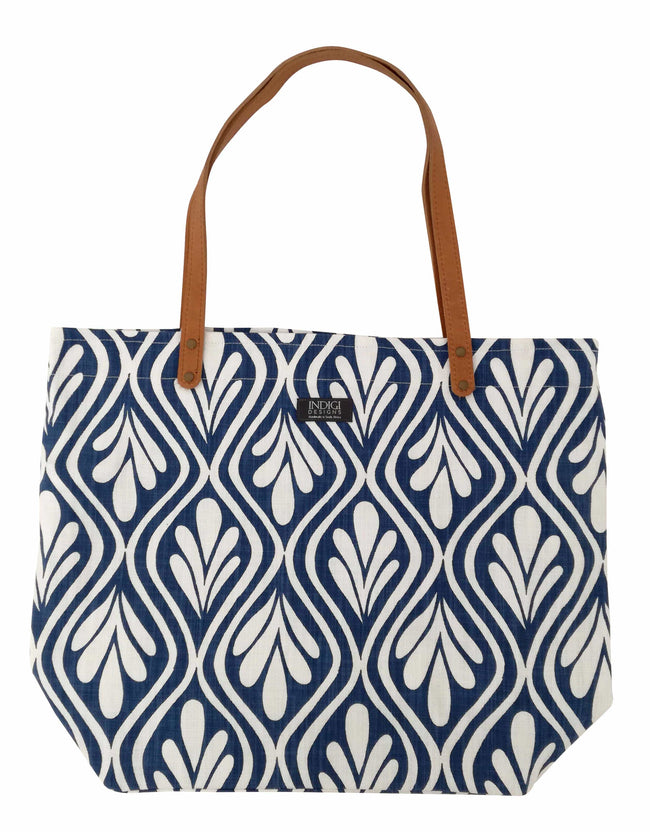 Henna Leaves Indigo Tote Bag