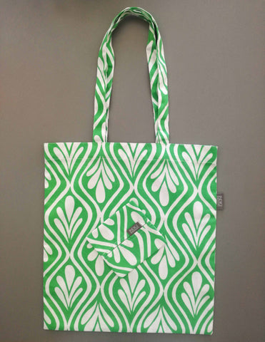 Kuba Palm Green Fabric Shopping Bag with Pouch
