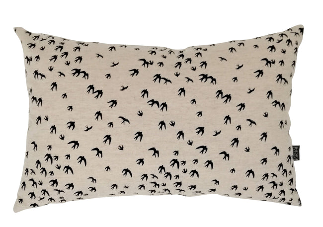 Oblong Birds Black Cushion Cover