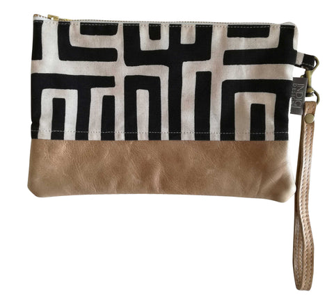 Dogon Weave Black with Leather Clutch Bag