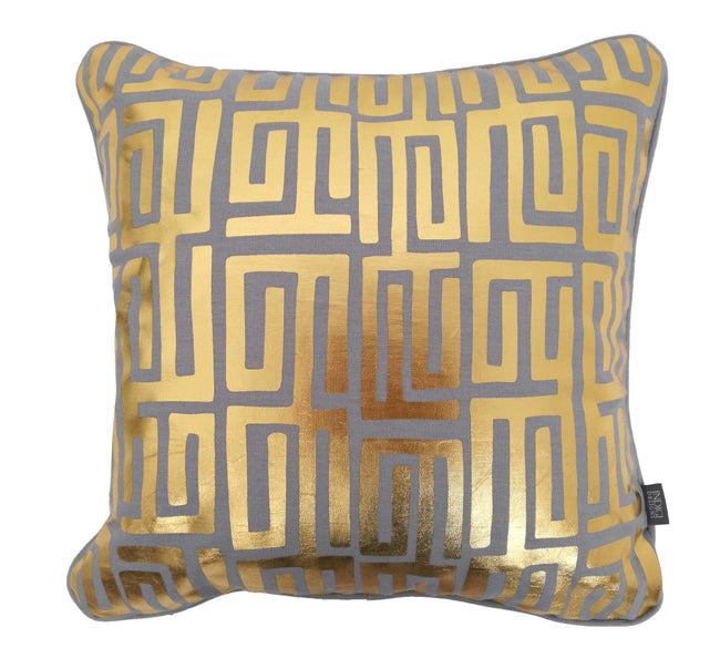 Kuba Kuba Gold on Grey Foiled Cushion Cover