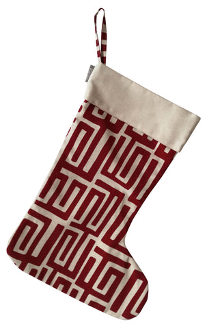 Facet Deep Red Christmas Stocking