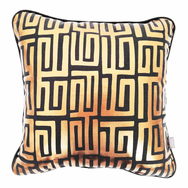 Kuba Kuba Rose Gold Foil on Charcoal Cushion Cover