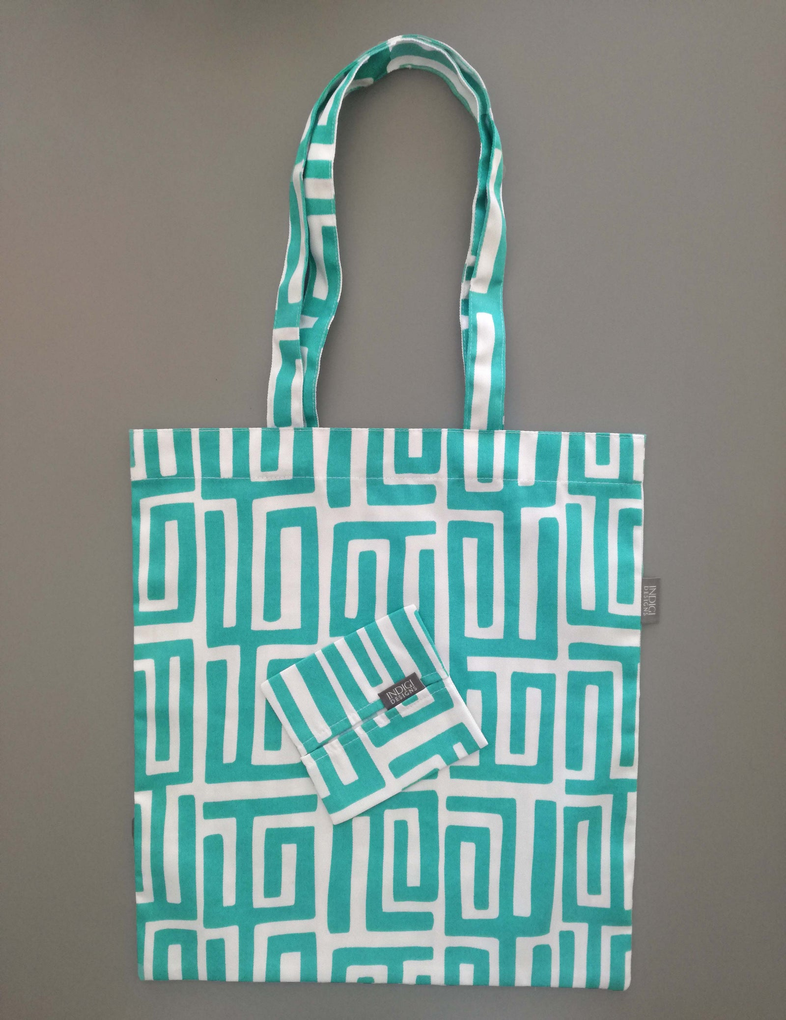 Kuba Turquoise Fabric Shopping Bag with Pouch