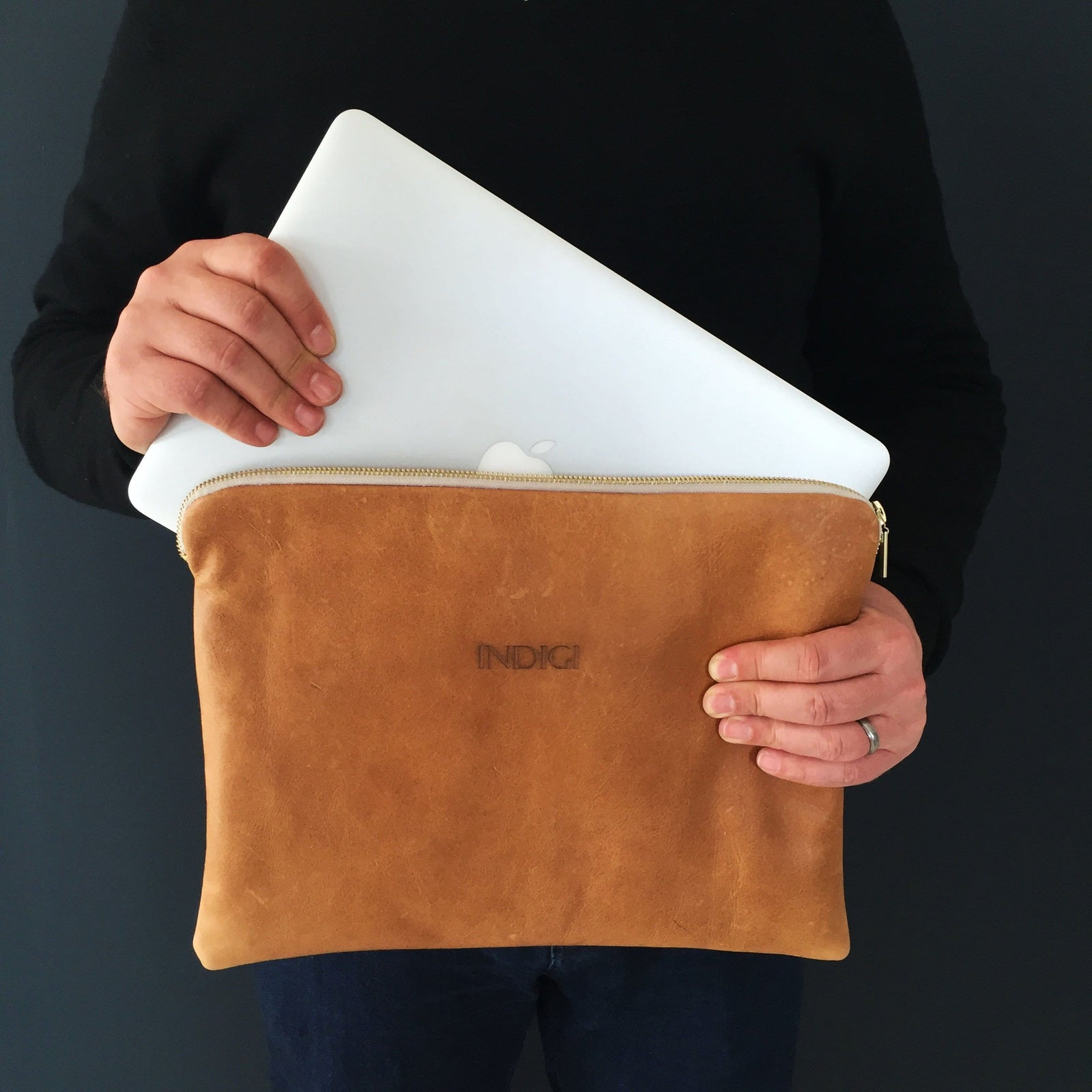 Tan Leather Laptop Sleeve