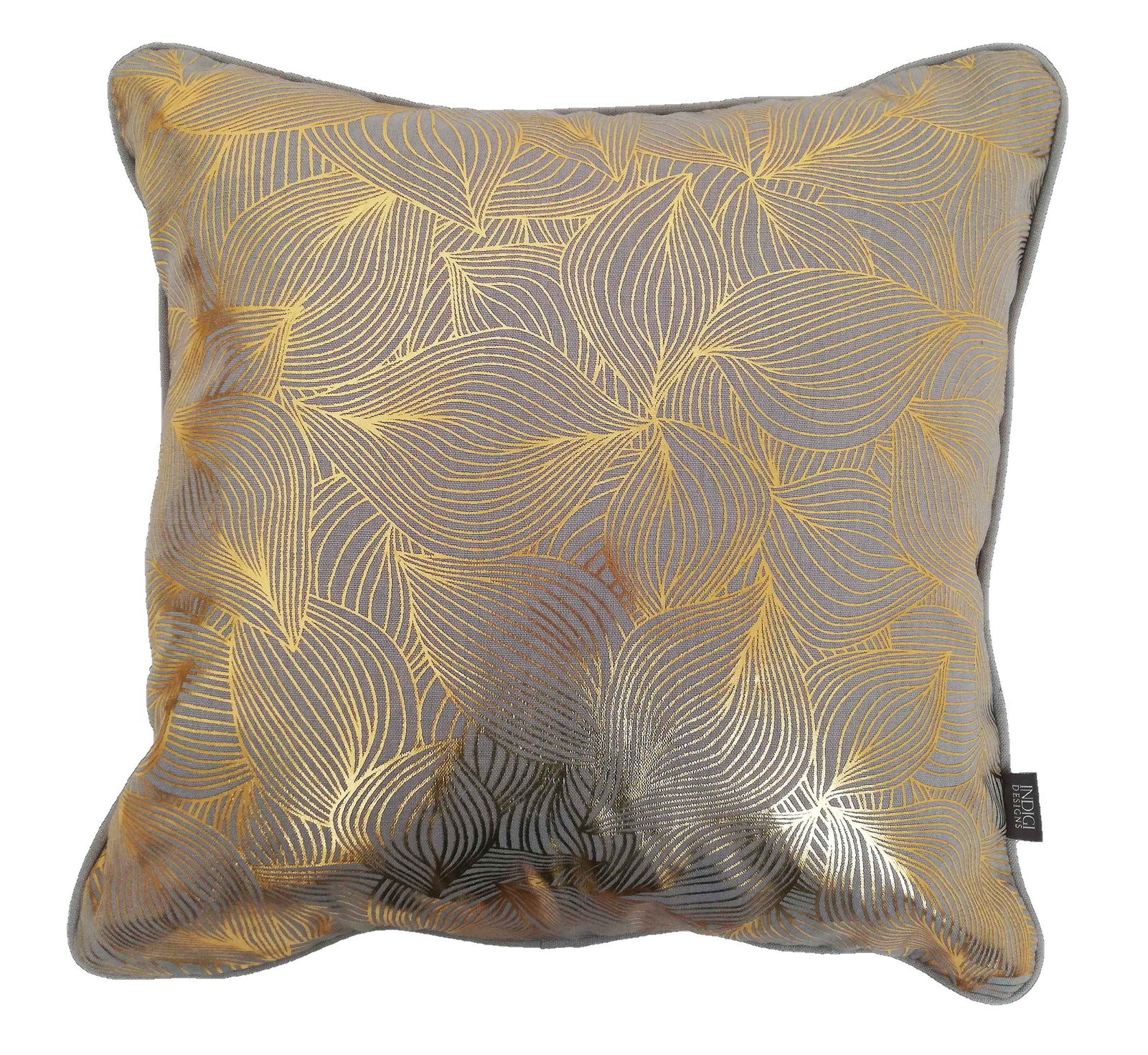Lilium Gold on Grey Foiled Cushion Cover