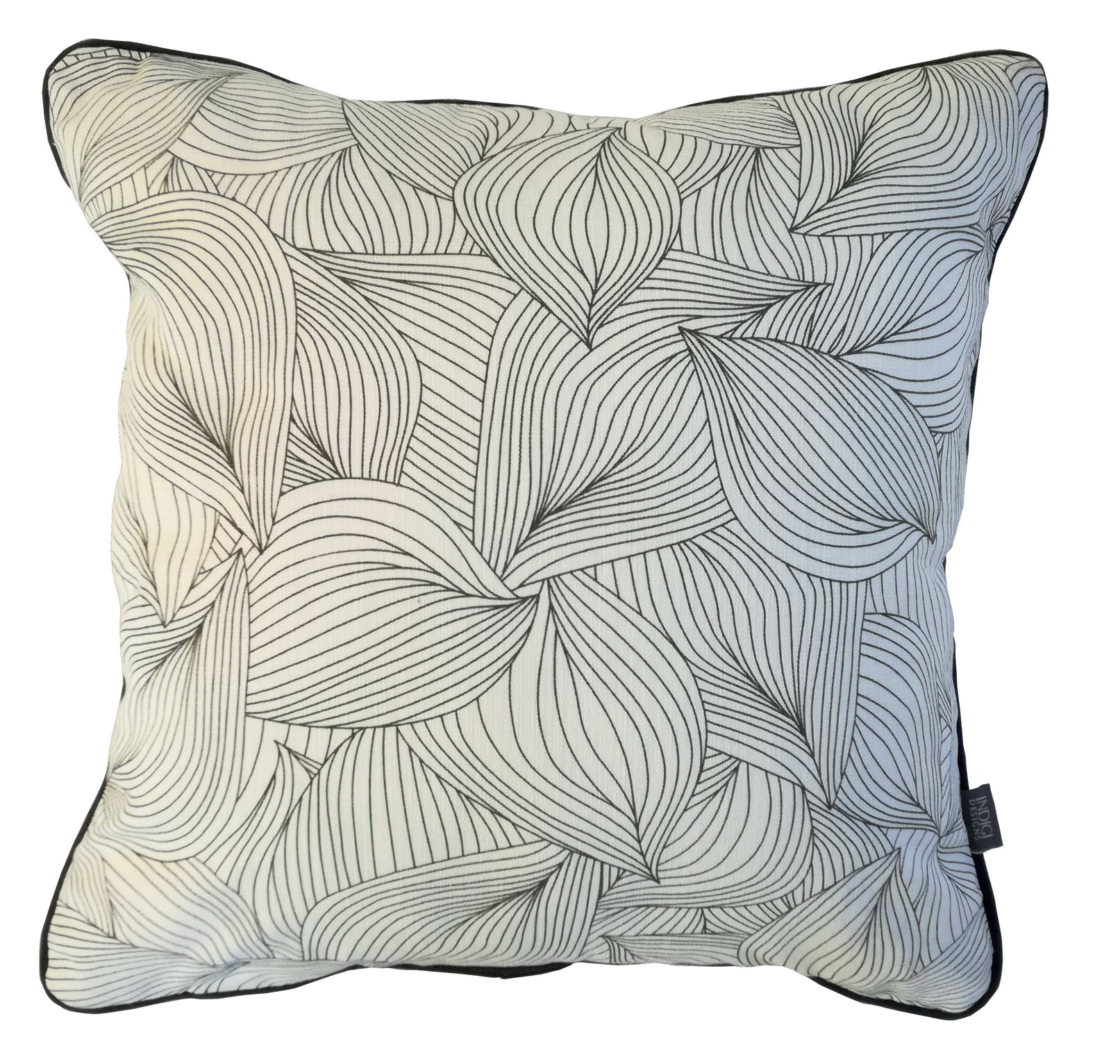 Lilium Charcoal Cushion Cover with Piping