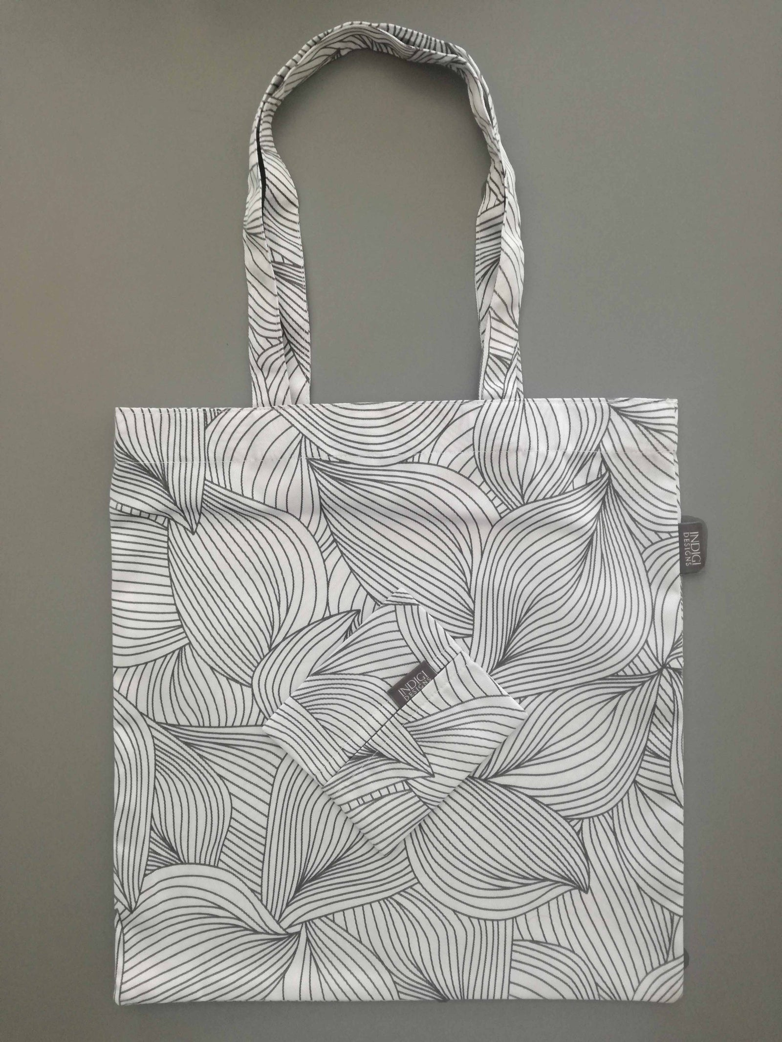 Lilium Charcoal Fabric Shopping Bag with Pouch
