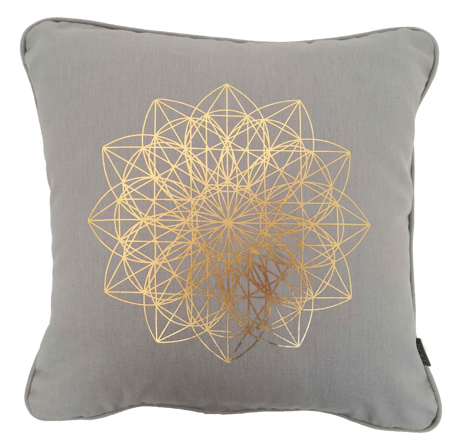 Lotus Gold on Grey Foiled Cushion Cover