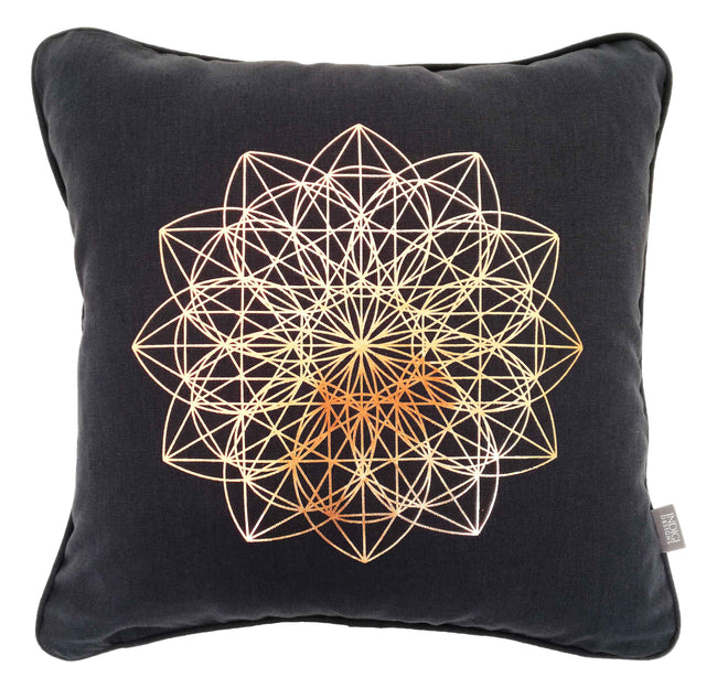 Lotus Rose Gold Foil on Charcoal Cushion Cover