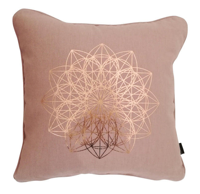 Lotus Rose Gold Foil on Nude Pink Cushion Cover