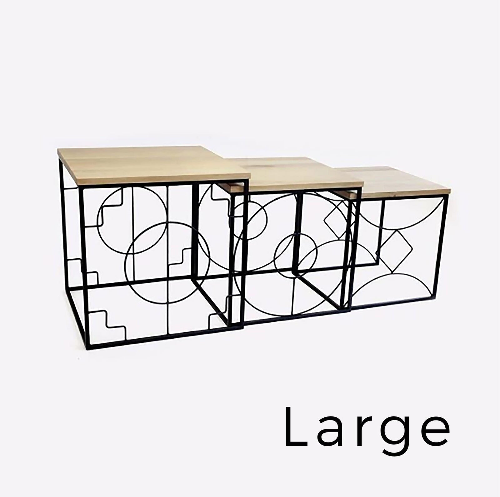 Ndemetric Nesting Table Large, Black Epoxy with Oak Top