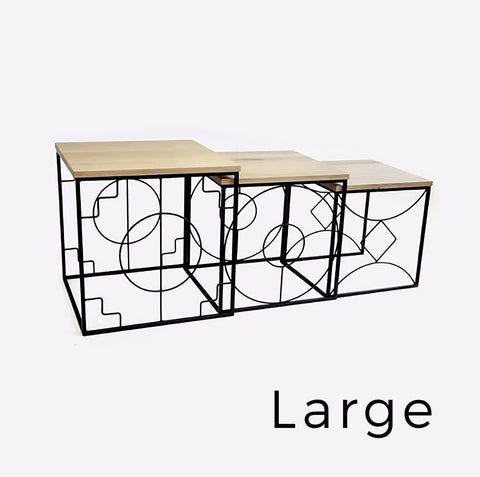 Geometric Nesting Table Small, Nude Pink Epoxy with Metal Top