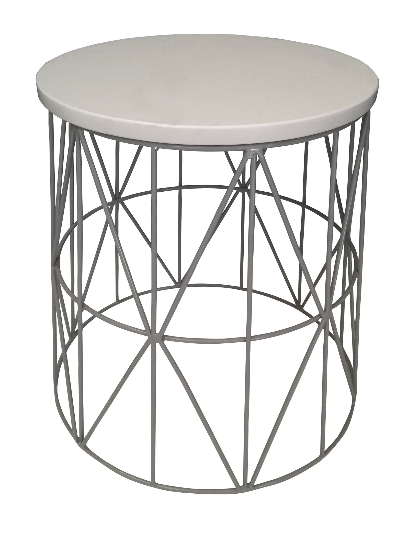 Pythag Side Table, Grey Epoxy with White Sprayed Wood Top
